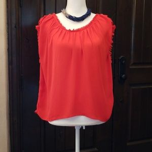 Joie Red Ruffle Sleeve Top
